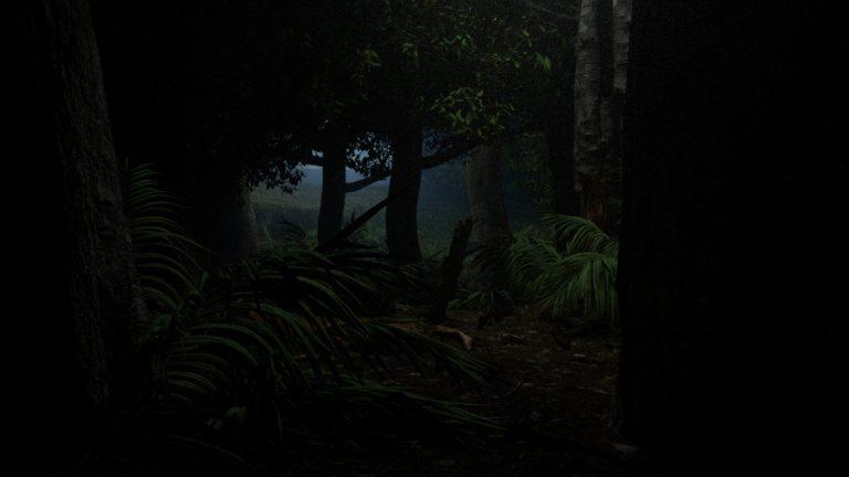 Test de rendu dans la forêt sombre avec octane render sous cinem4D avec speedtree et mégascanea